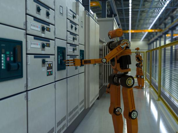 Robot in futuristic factory