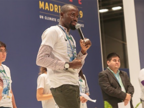 'Seyifunmi Adebote from Nigeria speaking during the Youth and Future Generation Day at COP15 in Madrid.