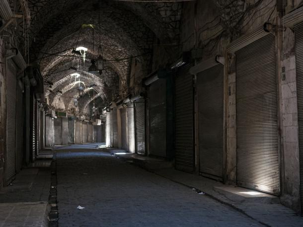 Shuttered shops in Aleppo