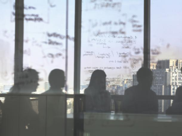 Silhouettes of meeting