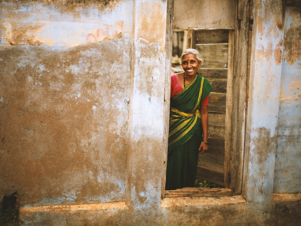 Smiling woman in Coimbatore, India