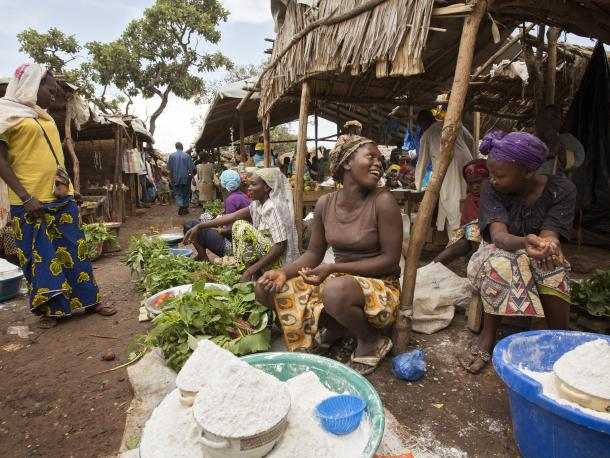 Women selling vegetables and flour, Gado refugee camp, Cameroon