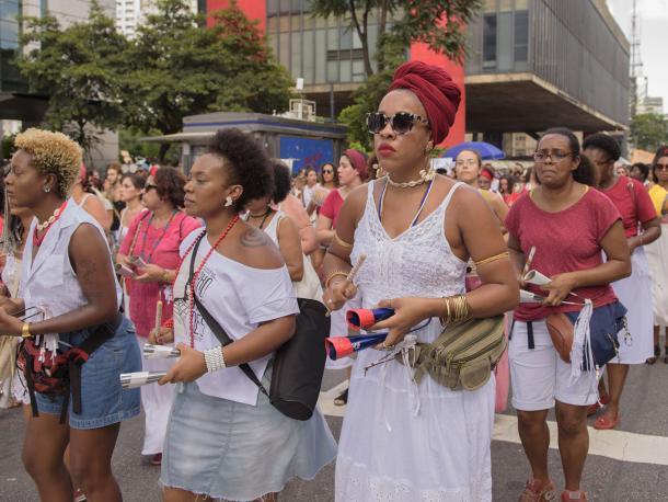 Women marching in Sao Paulo, Brazil