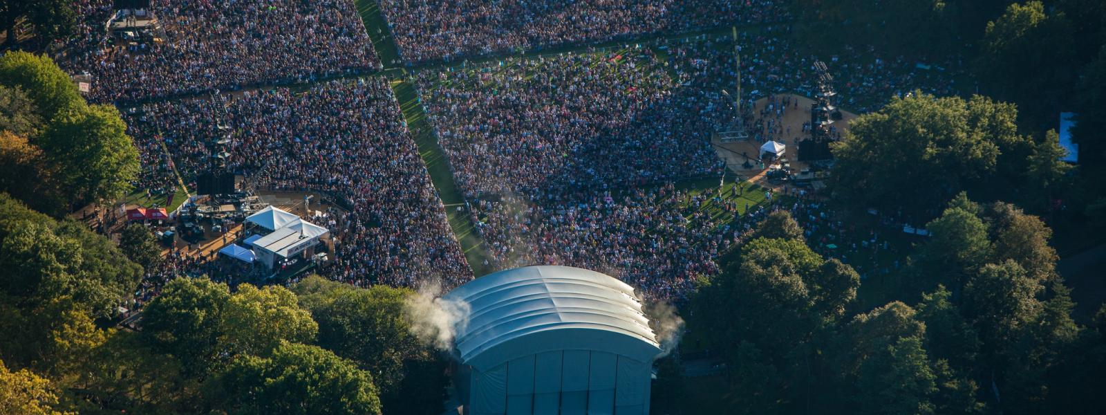 Crowds at the Global Citizen concert in Central Park, New York.