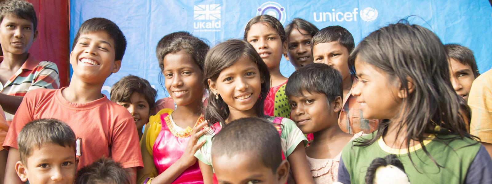 Rohingya children in Bangladesh refugee camp supported by UK aid