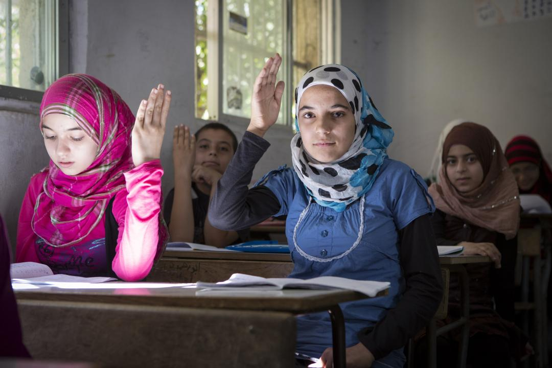 Syrian refugees at school in Tripoli