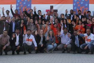 A show of strong hands to STOP violence against women and girls by colleagues from UNODC, UNOPS, UNHCR, UNAMA, UNMOGIP, IOM, WHO, UNDSS, UNRCO and UN Women