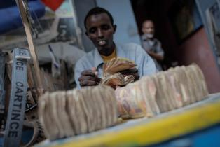 Counting money in Somalia