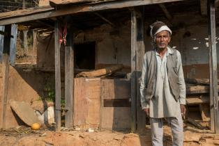 Khadanand Bhatta, an 80-year-old widower from Ashrang