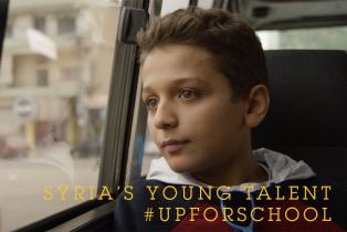 Syrian schoolboy on a bus