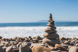 Pile of stones by the sea