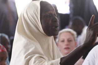 The UN Security Council meets with displaced individuals living in the Teachers' Village IDP Camp in Nigeria.