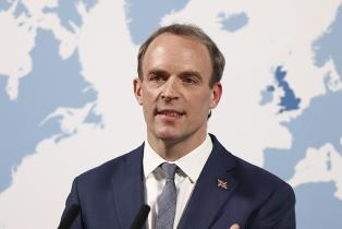 Dominic Raab gives a speech at the Aspen Security Forum at the Locarno Suite inside the Foreign Commonwealth and Development Office in London