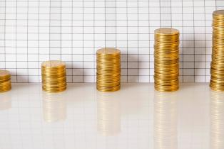 Business graph made of coins stock photo