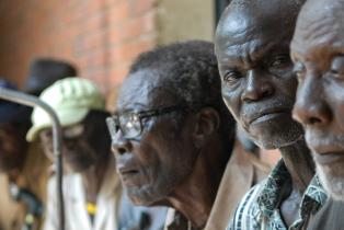 Veterans in Chad, Africa queueing for an ebola check