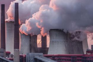 Chimneys and cooling tower of a coal fired power station.