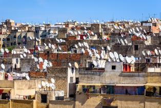 Satellite dishes on rooftops in Fez