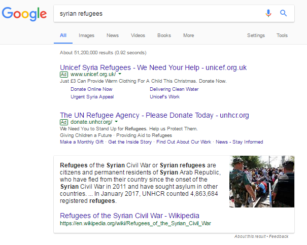 Syrian refugees google screenshot